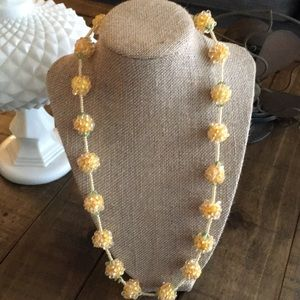 Vintage yellow beaded statement necklace